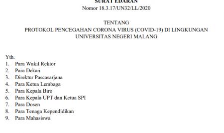 PROTOKOL PENCEGAHAN CORONA VIRUS (COVID-19) DI LINGKUNGAN UNIVERSITAS NEGERI MALANG