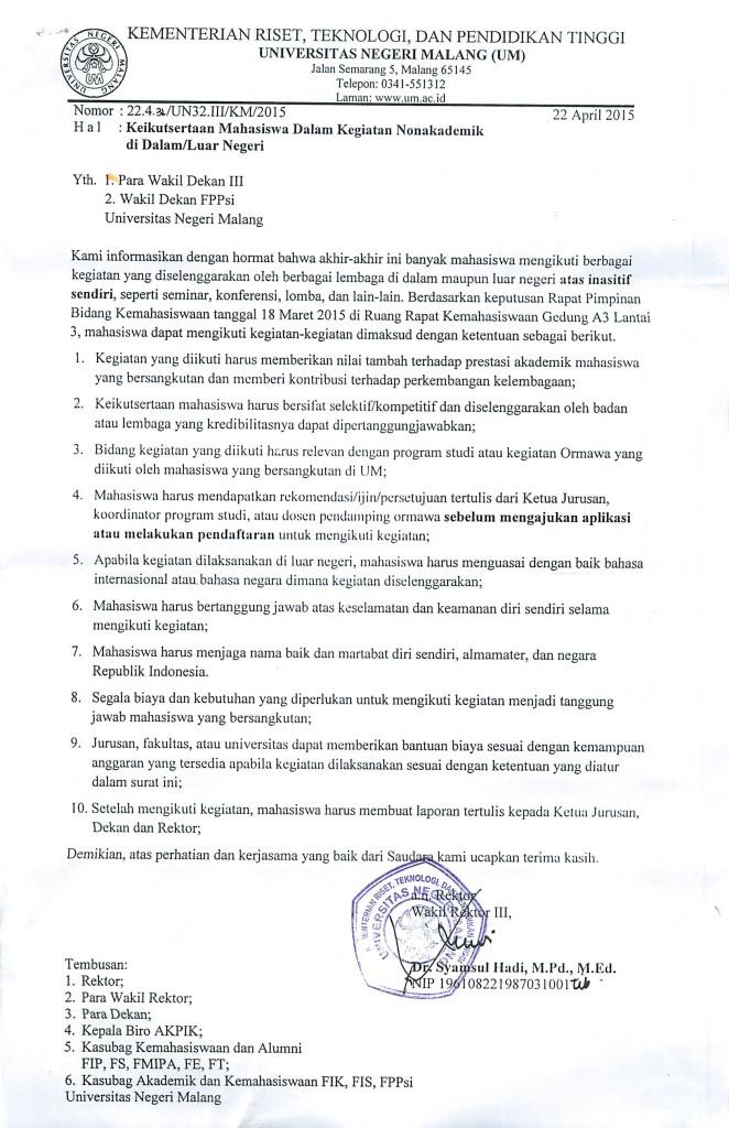 KEIKUTSERTAAN MAHASISWA DALAM KEGIATAN NONAKADEMIK DI DALAM/LUAR NEGERI