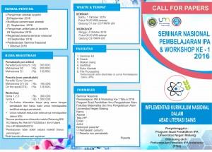 Info Seminar Nasional Pembelajaran IPA dan Workshop ke-1