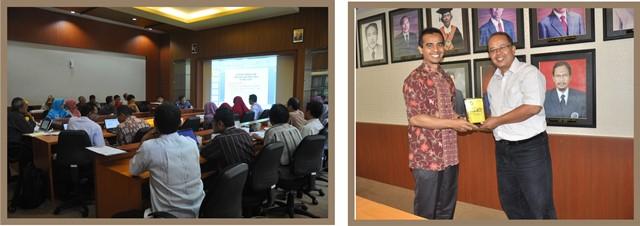 Suasana Workshop Kurikulum Saat Perwakilan Tim Kurikulum Mempresentasikan Hasil Reviu, dan Pertukaran Cendera Mata antar Dekan FMIPA UM dengan Ketua Tim Kurikulum UNTAN Tanjungpura, 26 Mei 2015